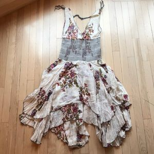 Free People Floral Ruffled Layered Tank Dress L
